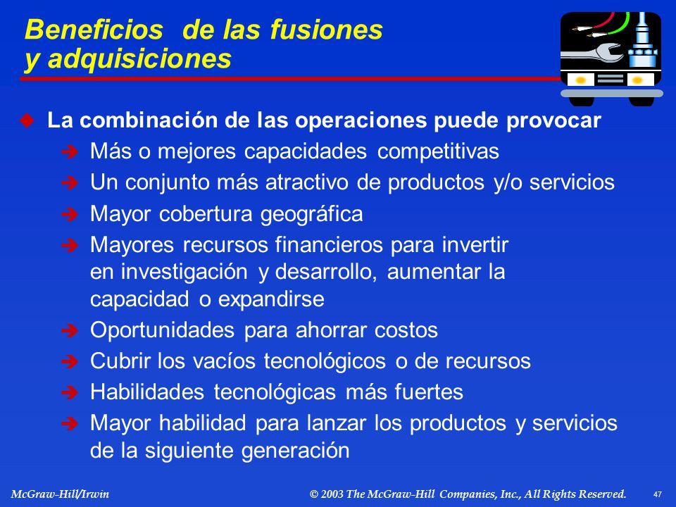Beneficios de las fusiones y adquisiciones