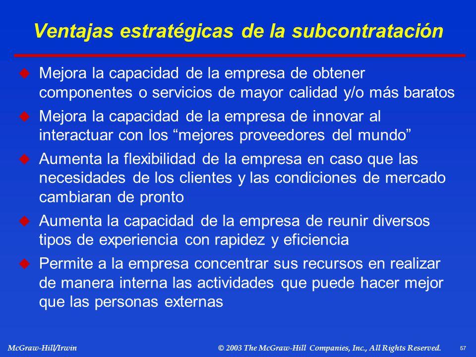 Ventajas estratégicas de la subcontratación