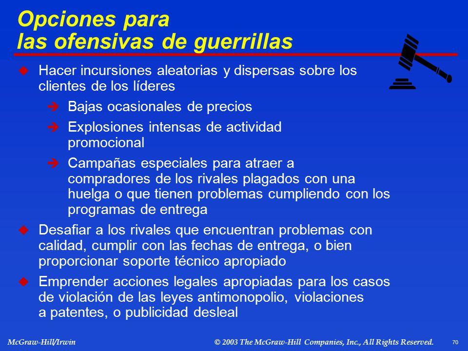 Opciones para las ofensivas de guerrillas