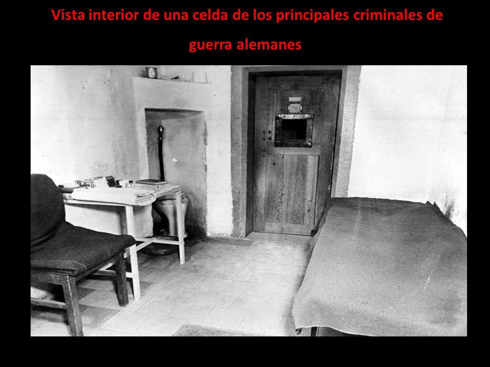 Vista interior de una celda de los principales criminales de guerra alemanes
