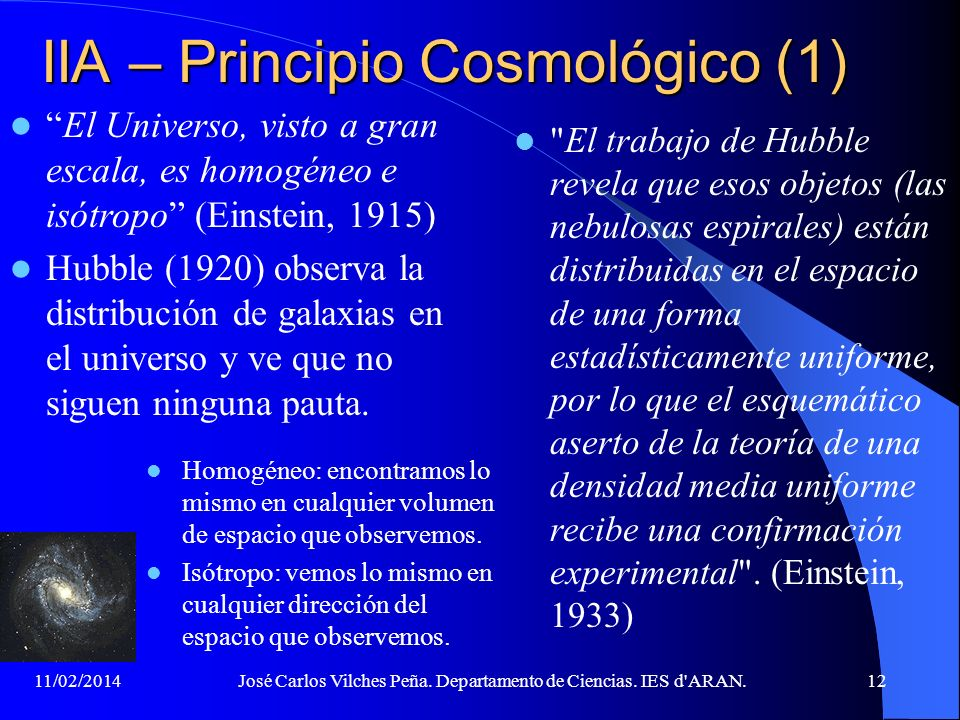 IIA – Principio Cosmológico (1)