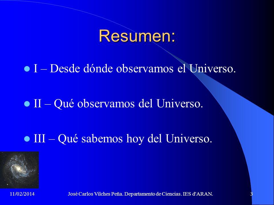 José Carlos Vilches Peña. Departamento de Ciencias. IES d ARAN.