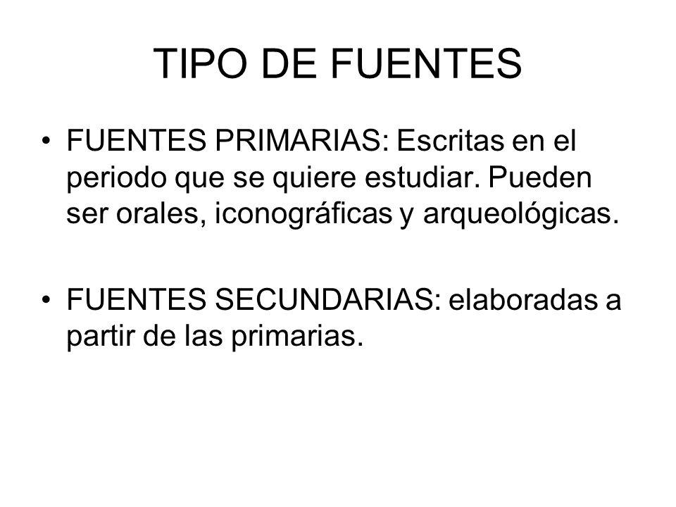 TIPO DE FUENTES FUENTES PRIMARIAS: Escritas en el periodo que se quiere estudiar. Pueden ser orales, iconográficas y arqueológicas.