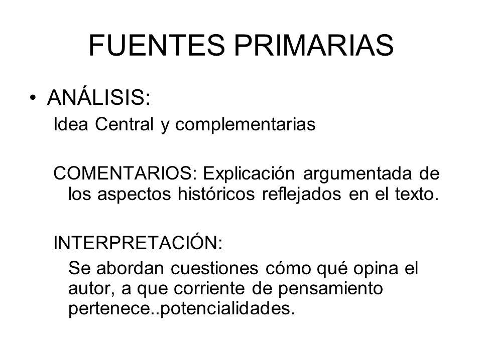 FUENTES PRIMARIAS ANÁLISIS: Idea Central y complementarias