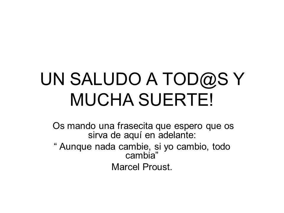 UN SALUDO A TOD@S Y MUCHA SUERTE!