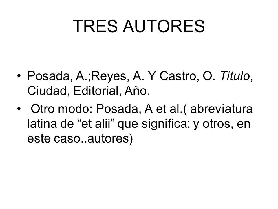 TRES AUTORES Posada, A.;Reyes, A. Y Castro, O. Titulo, Ciudad, Editorial, Año.