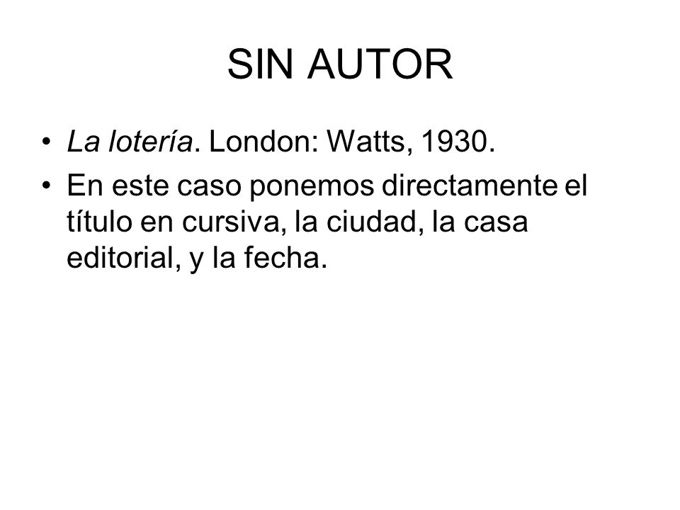 SIN AUTOR La lotería. London: Watts, 1930.