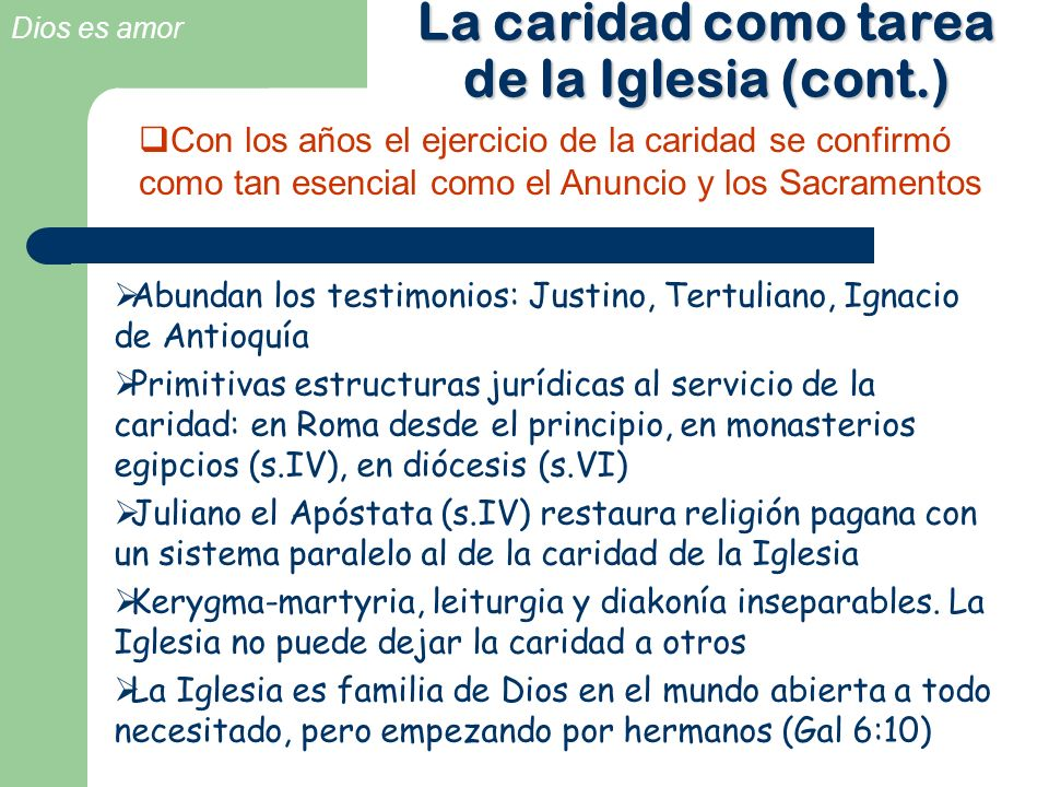 La caridad como tarea de la Iglesia (cont.)
