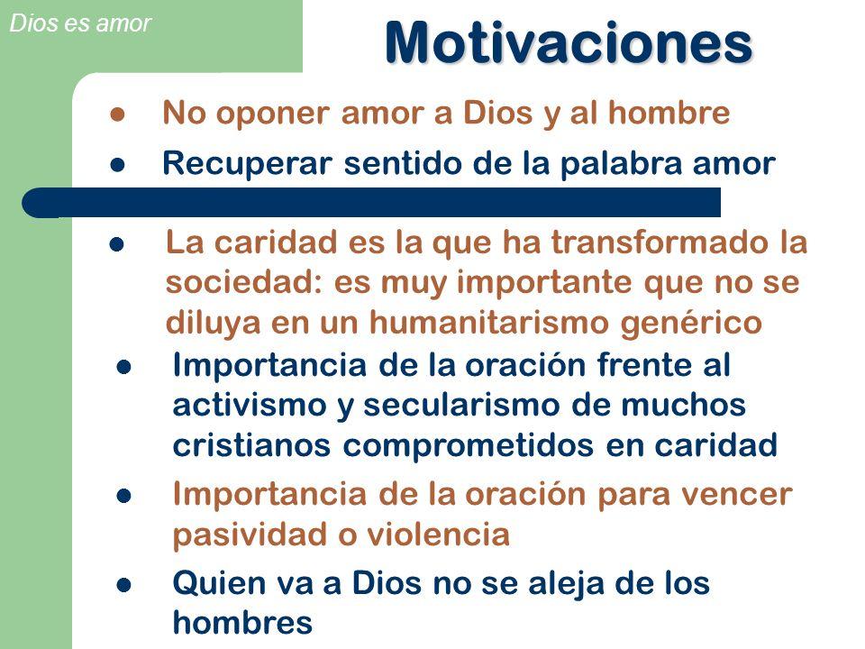 Motivaciones No oponer amor a Dios y al hombre