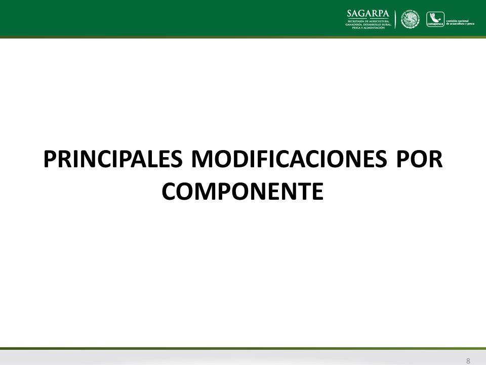 PRINCIPALES MODIFICACIONES POR COMPONENTE