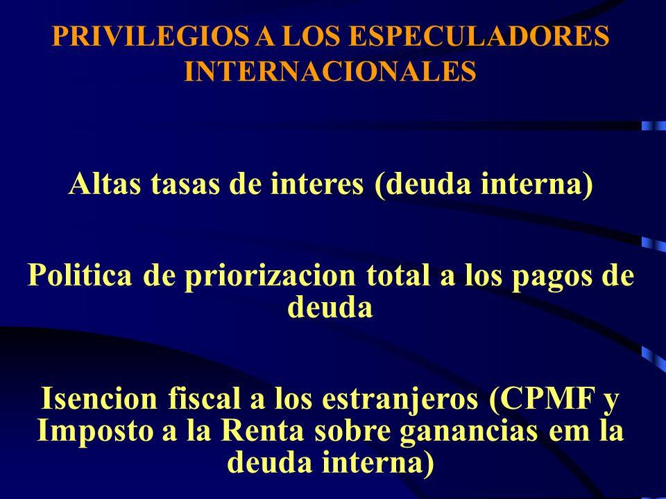 Altas tasas de interes (deuda interna)
