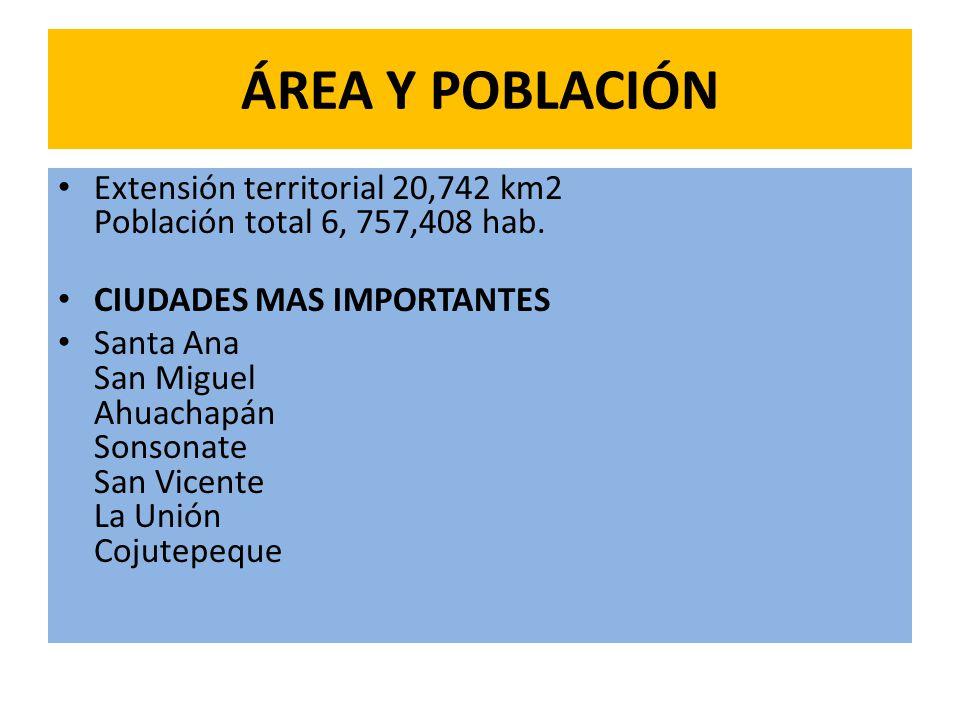 ÁREA Y POBLACIÓN Extensión territorial 20,742 km2 Población total 6, 757,408 hab. CIUDADES MAS IMPORTANTES.