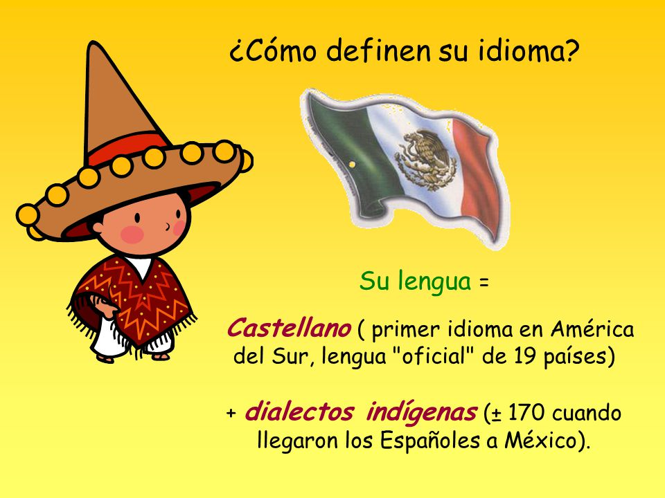 + dialectos indígenas (± 170 cuando llegaron los Españoles a México).