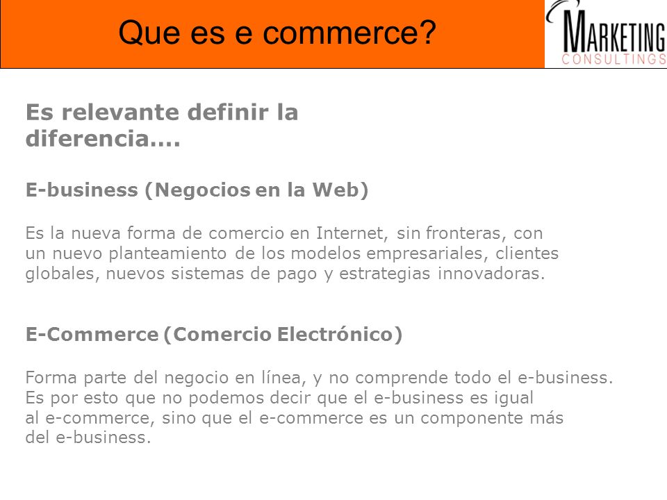 Que es e commerce Es relevante definir la diferencia….