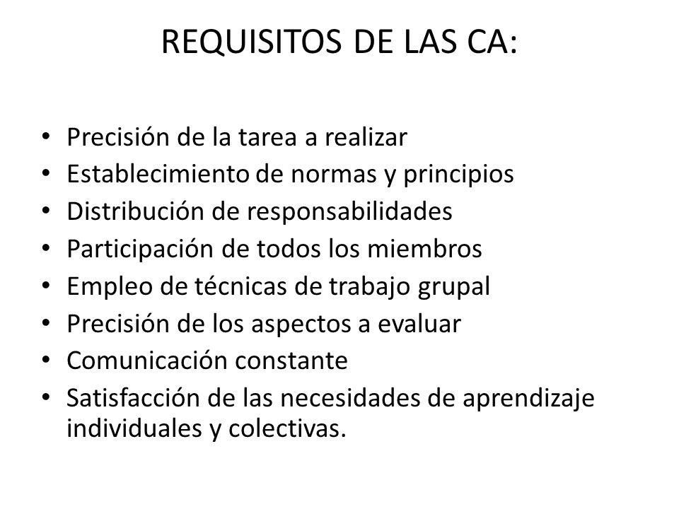 REQUISITOS DE LAS CA: Precisión de la tarea a realizar