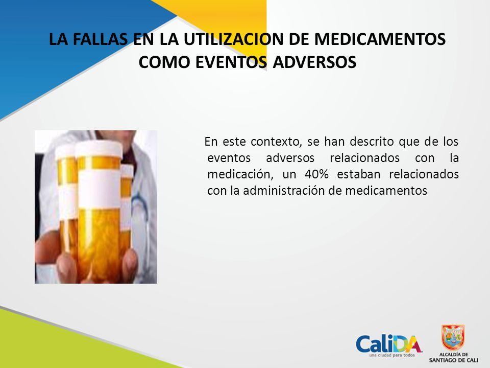 LA FALLAS EN LA UTILIZACION DE MEDICAMENTOS COMO EVENTOS ADVERSOS