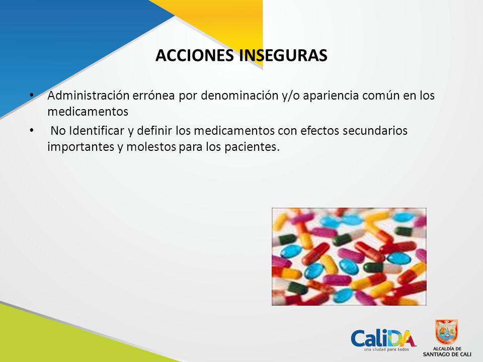 ACCIONES INSEGURAS Administración errónea por denominación y/o apariencia común en los medicamentos.