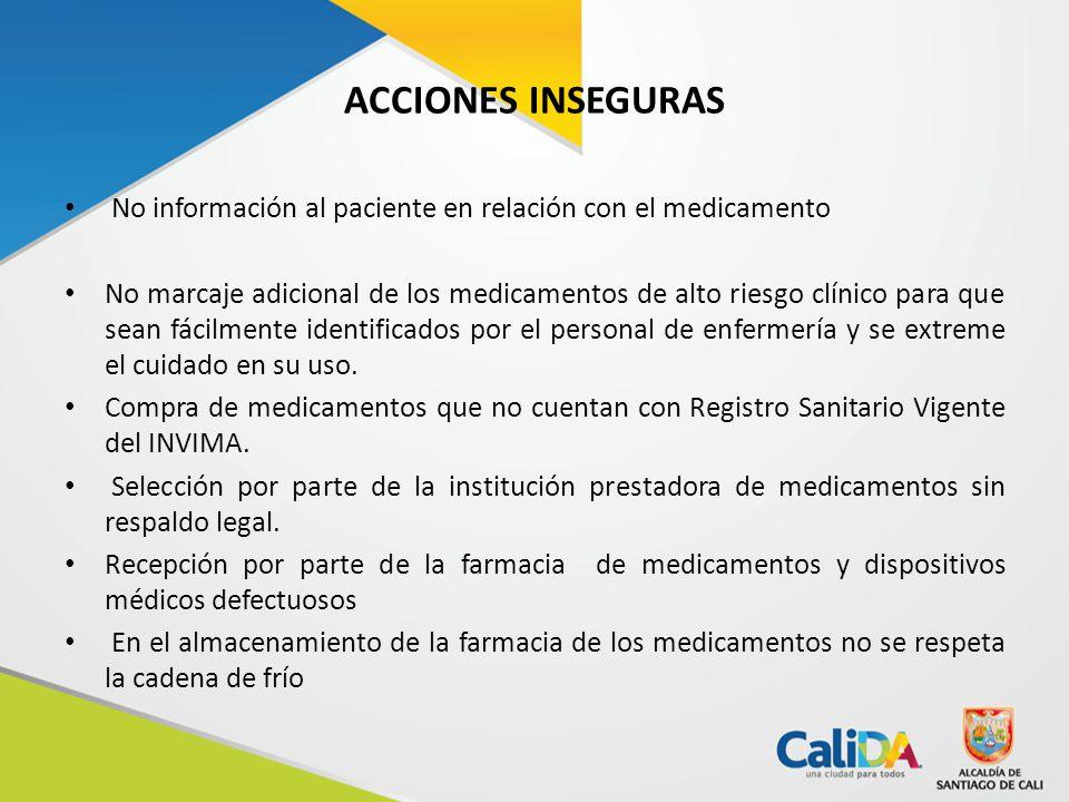ACCIONES INSEGURAS No información al paciente en relación con el medicamento.