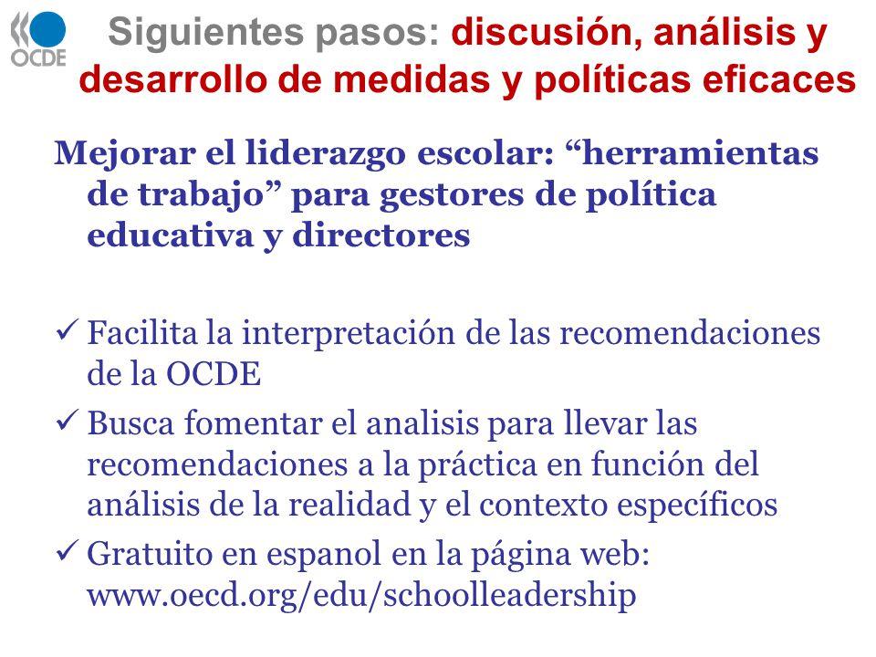 Siguientes pasos: discusión, análisis y desarrollo de medidas y políticas eficaces