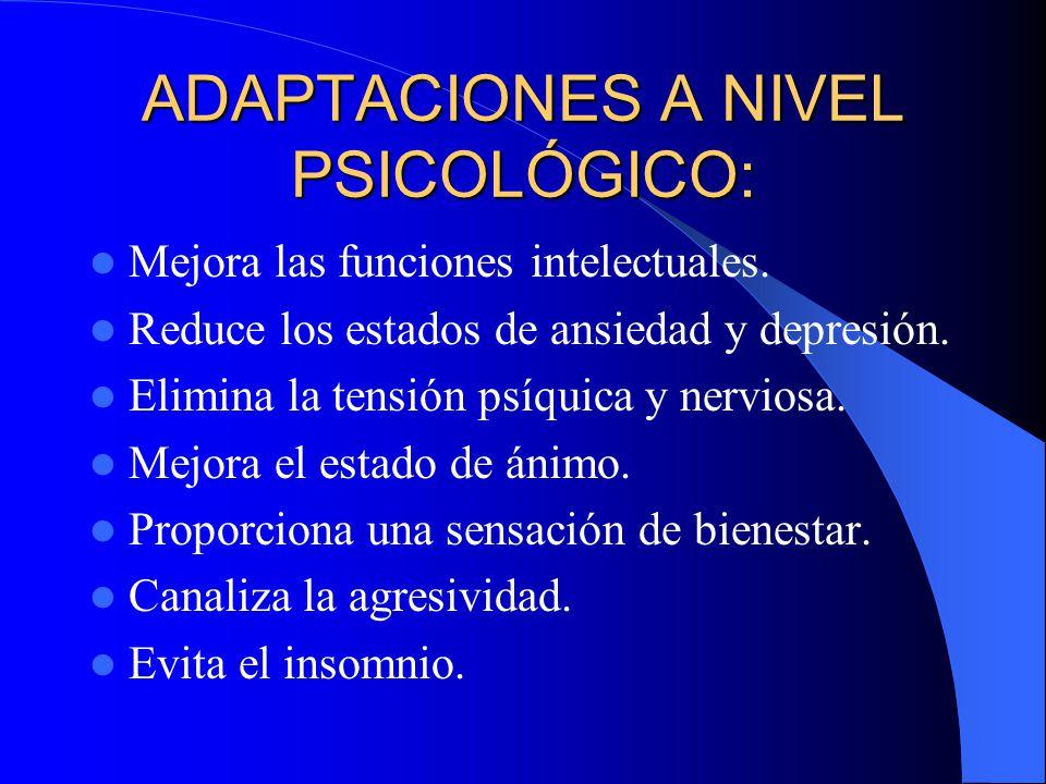 ADAPTACIONES A NIVEL PSICOLÓGICO: