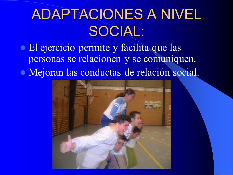 ADAPTACIONES A NIVEL SOCIAL: