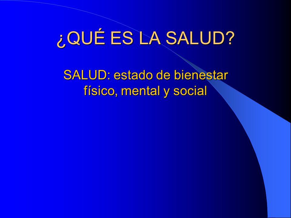 SALUD: estado de bienestar físico, mental y social