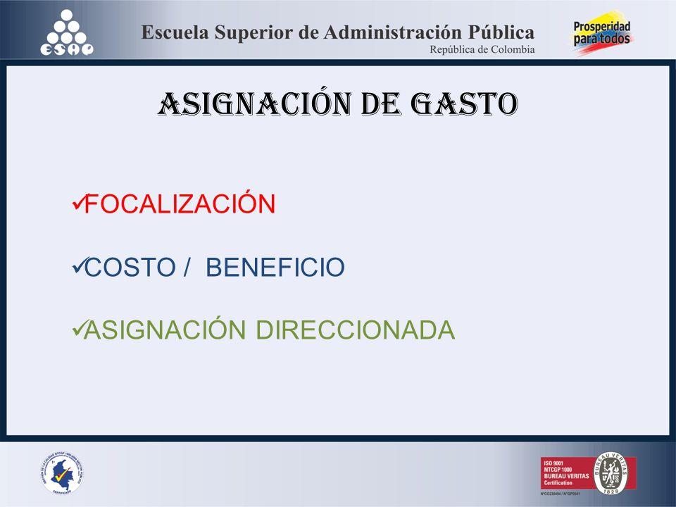 ASIGNACIÓN DE GASTO FOCALIZACIÓN COSTO / BENEFICIO