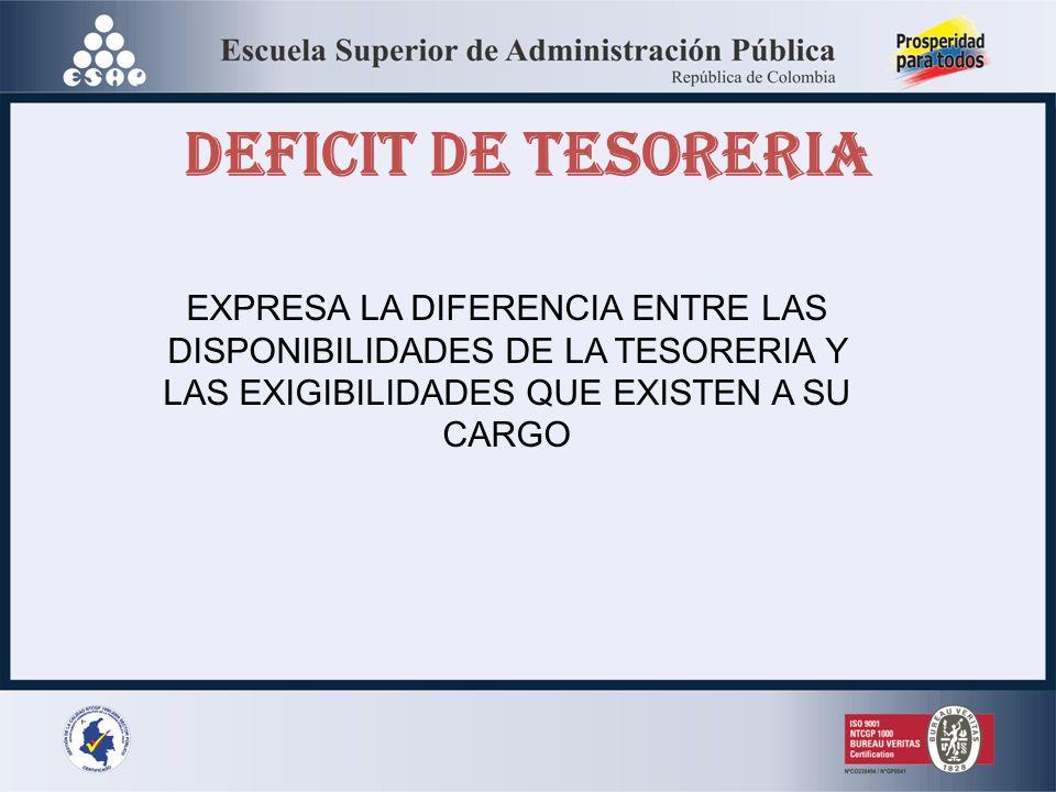 DEFICIT DE TESORERIA EXPRESA LA DIFERENCIA ENTRE LAS DISPONIBILIDADES DE LA TESORERIA Y LAS EXIGIBILIDADES QUE EXISTEN A SU.