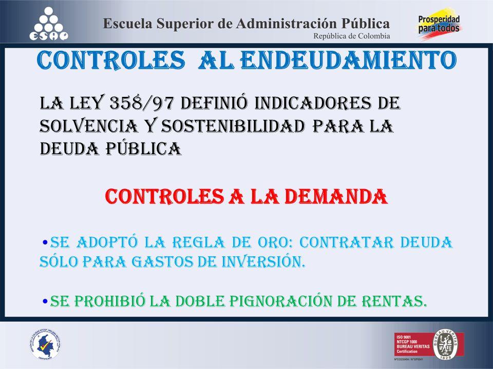 CONTROLES AL ENDEUDAMIENTO