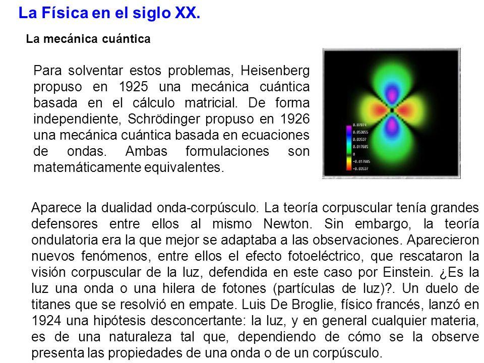 La Física en el siglo XX. La mecánica cuántica.