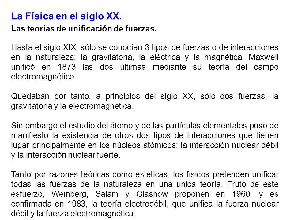 La Física en el siglo XX. Las teorías de unificación de fuerzas.