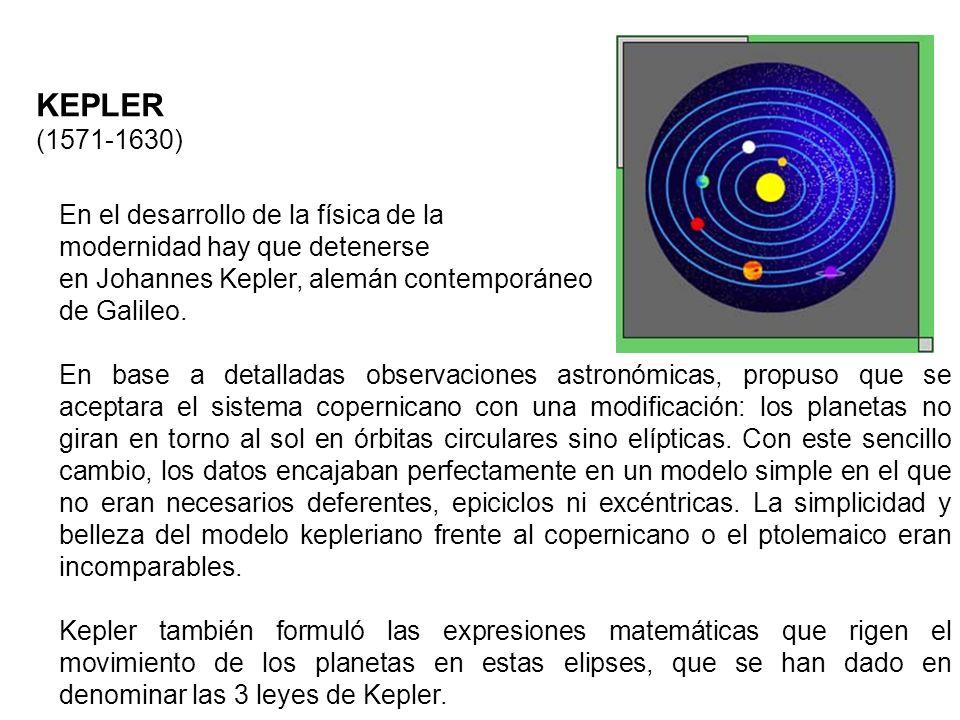 KEPLER (1571-1630) En el desarrollo de la física de la