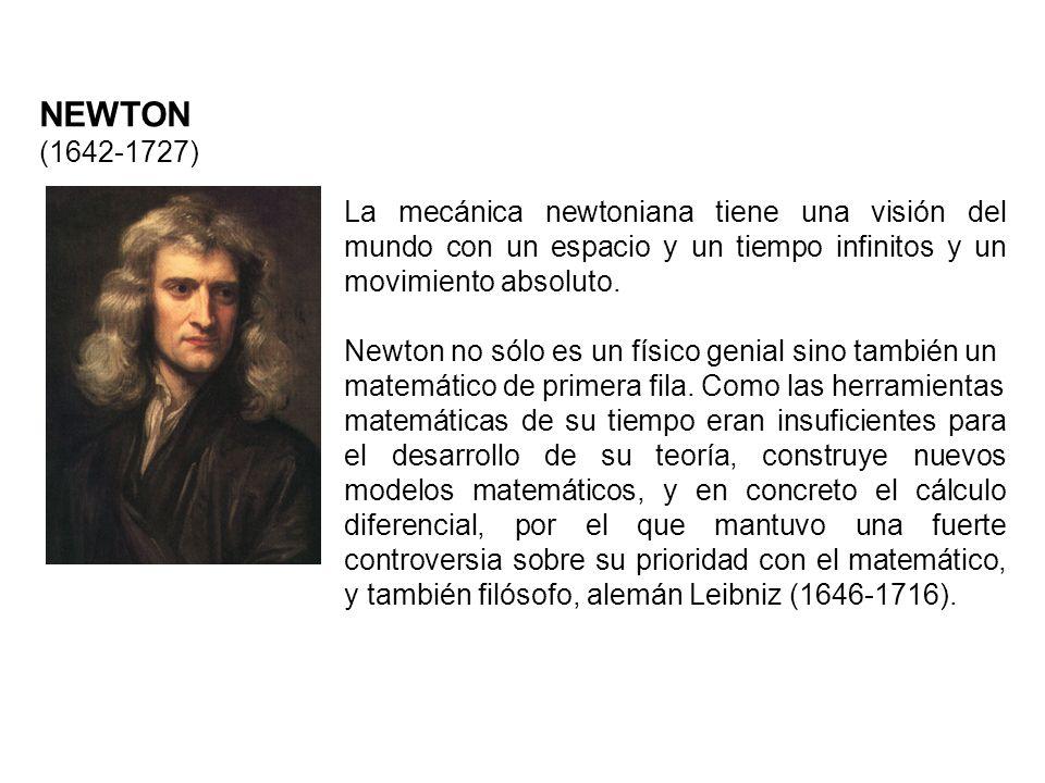 NEWTON (1642-1727)La mecánica newtoniana tiene una visión del mundo con un espacio y un tiempo infinitos y un movimiento absoluto.