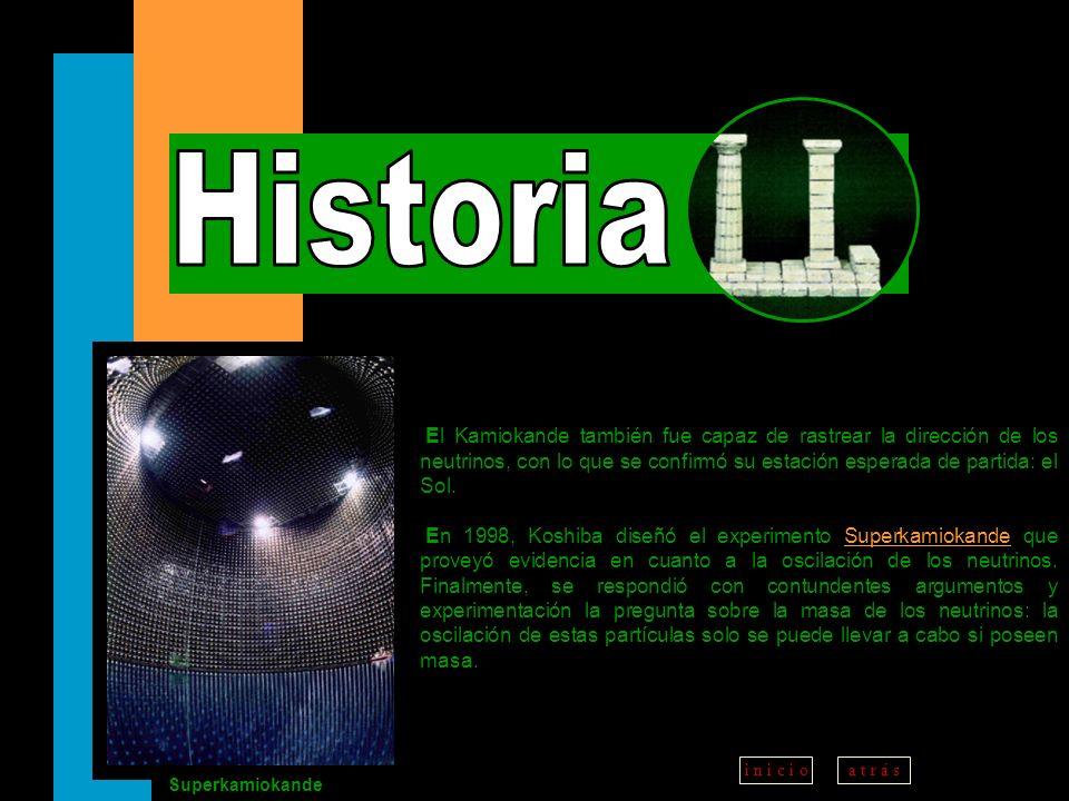 Historia El Kamiokande también fue capaz de rastrear la dirección de los neutrinos, con lo que se confirmó su estación esperada de partida: el Sol.