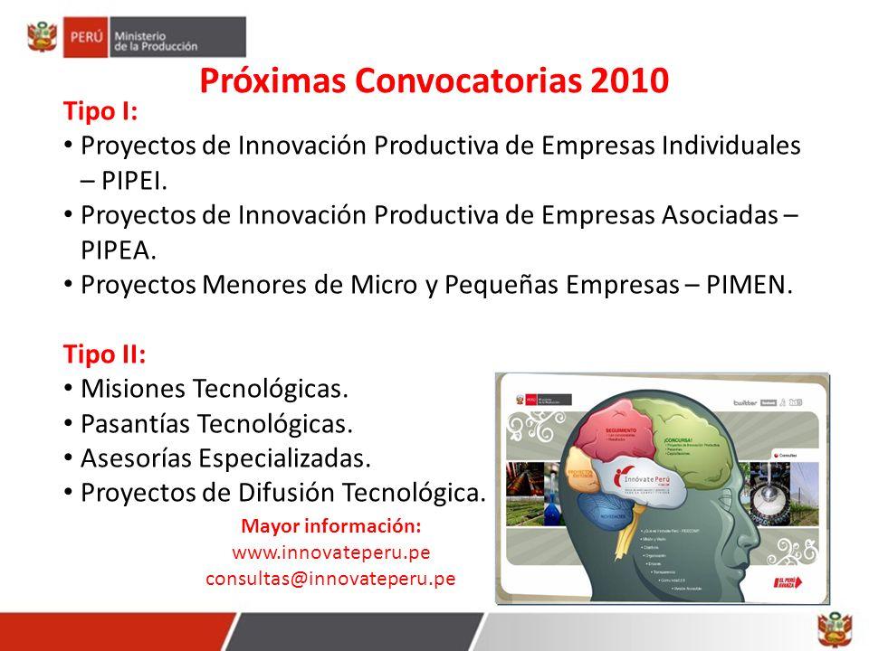 Próximas Convocatorias 2010