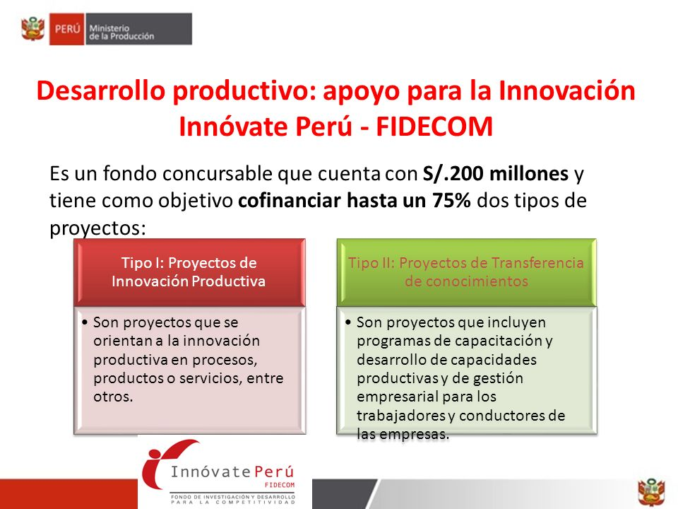 Desarrollo productivo: apoyo para la Innovación