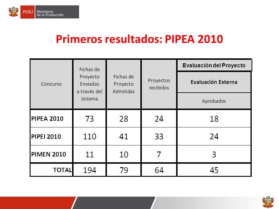 Primeros resultados: PIPEA 2010