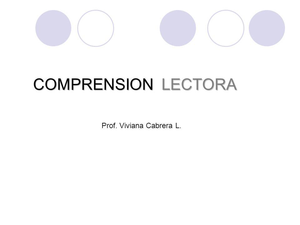 COMPRENSION LECTORA Prof. Viviana Cabrera L.