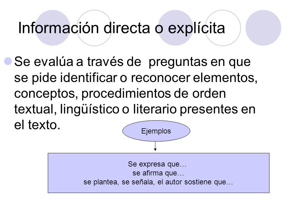 Información directa o explícita