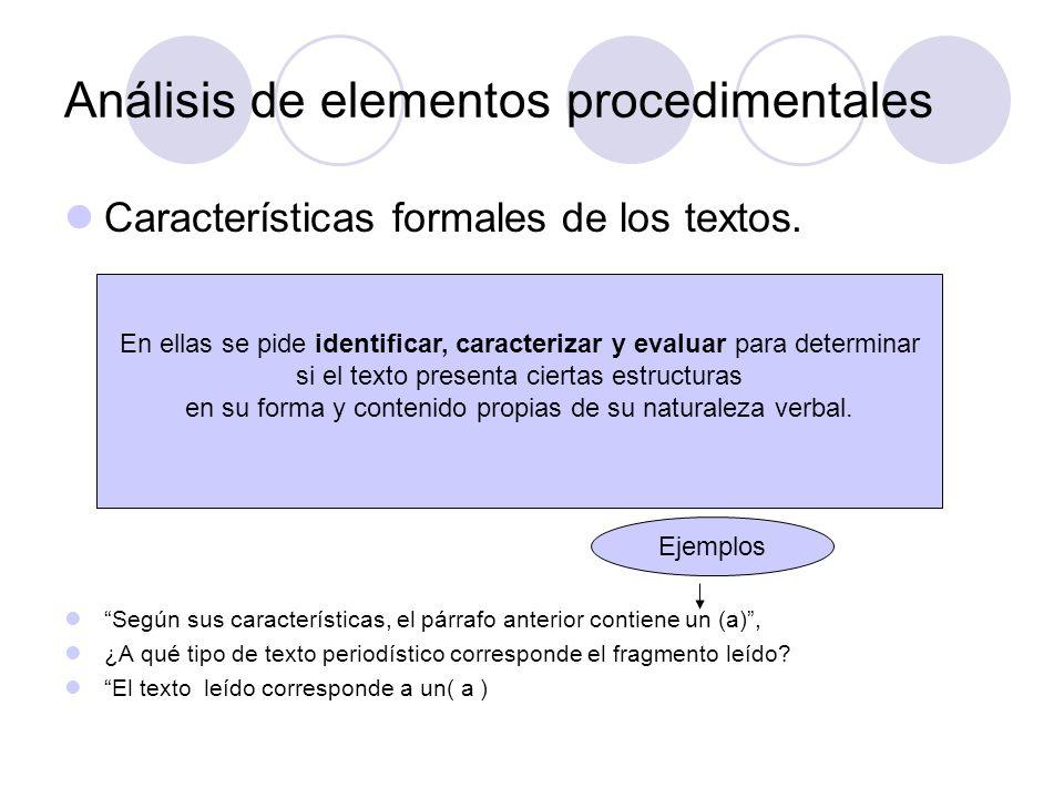 Análisis de elementos procedimentales