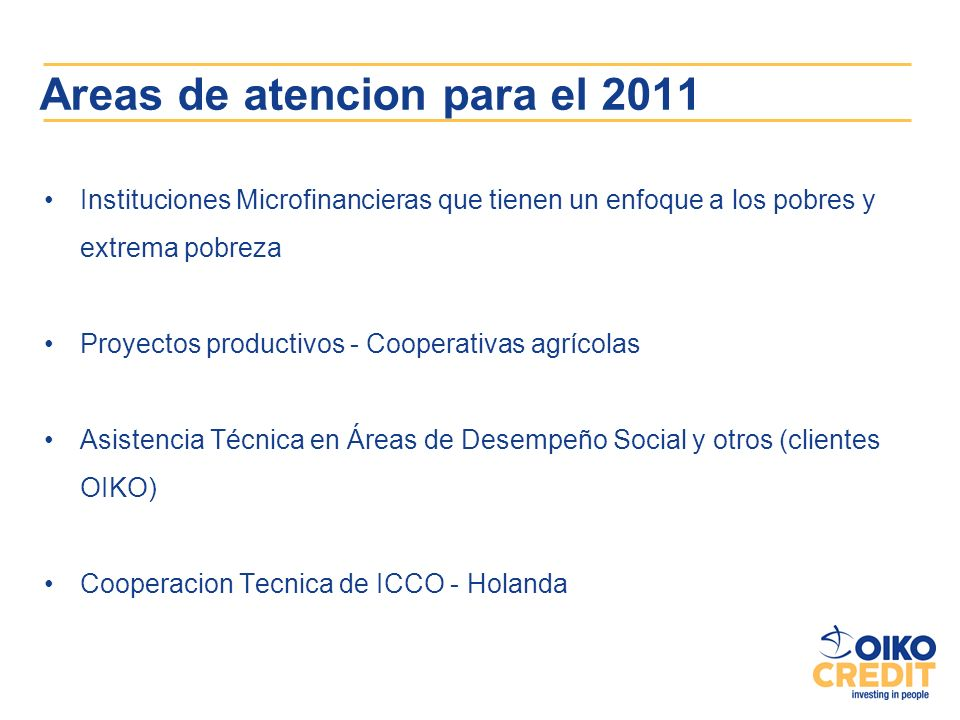 Areas de atencion para el 2011