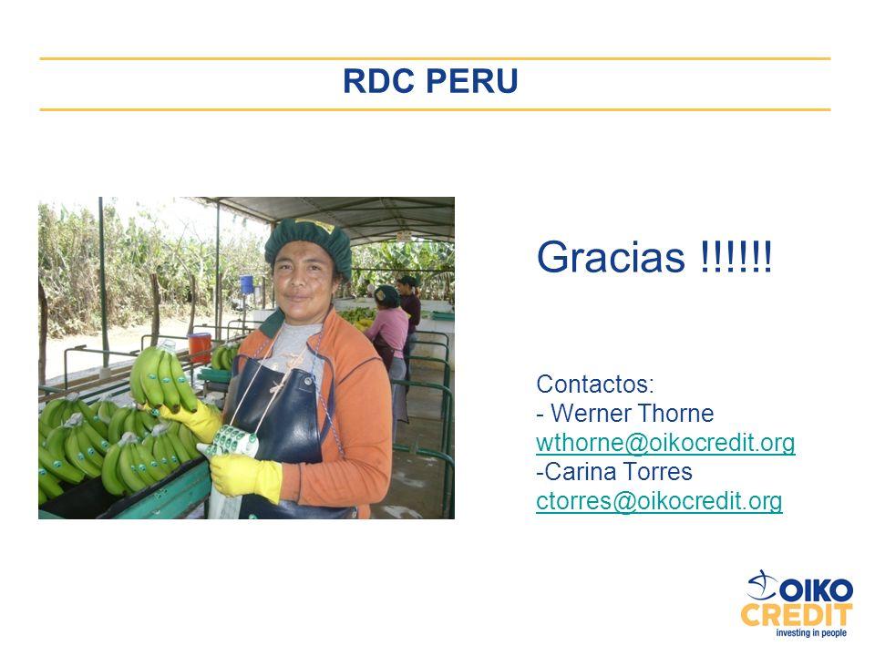 Gracias !!!!!! RDC PERU Contactos: - Werner Thorne