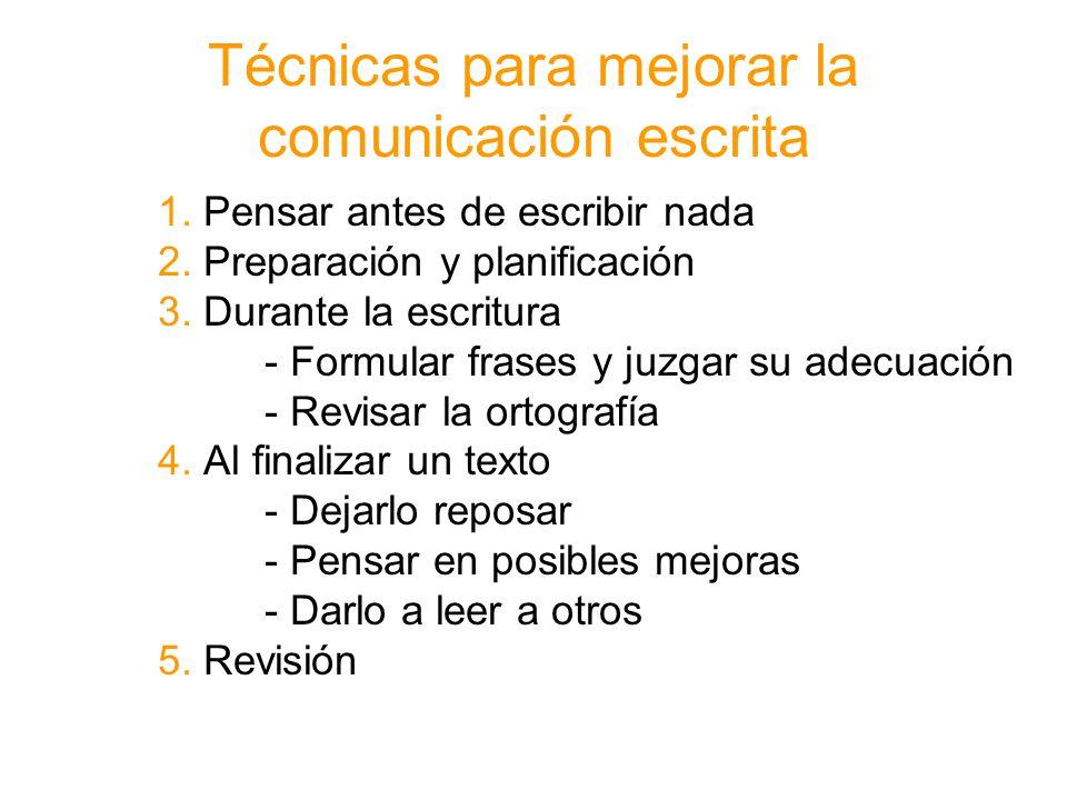 Técnicas para mejorar la comunicación escrita