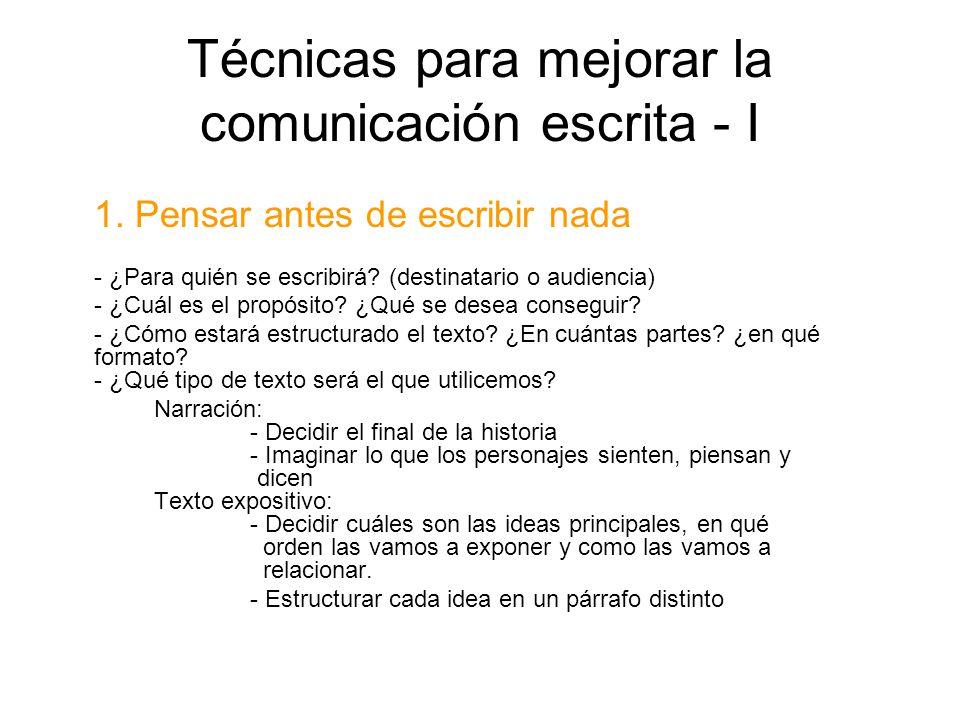Técnicas para mejorar la comunicación escrita - I