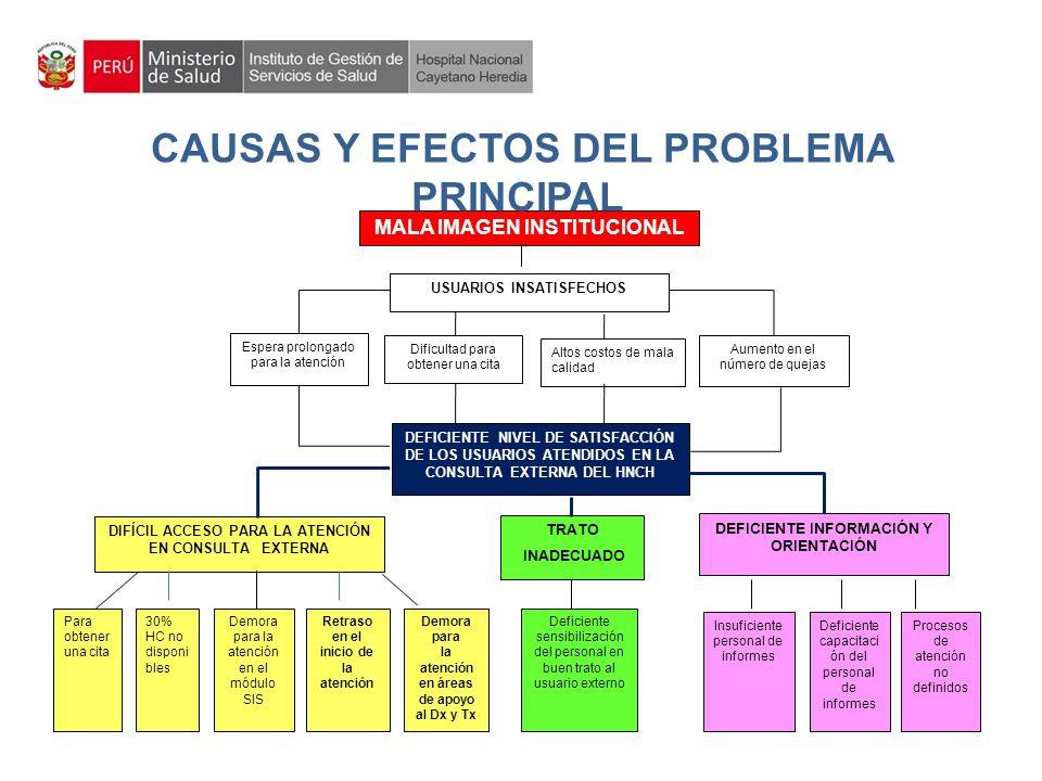 CAUSAS Y EFECTOS DEL PROBLEMA PRINCIPAL