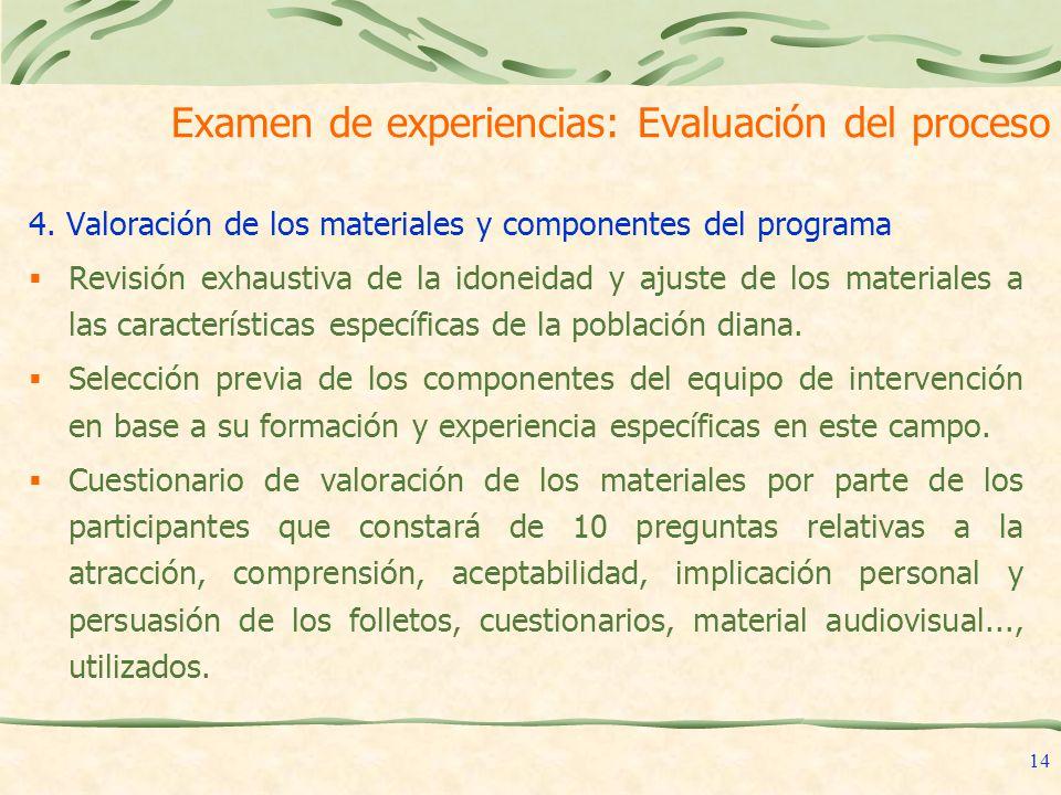 Examen de experiencias: Evaluación del proceso