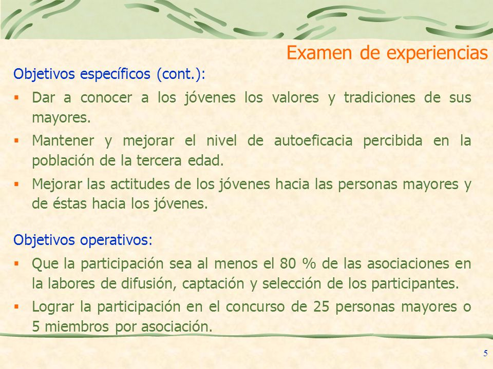 Examen de experiencias