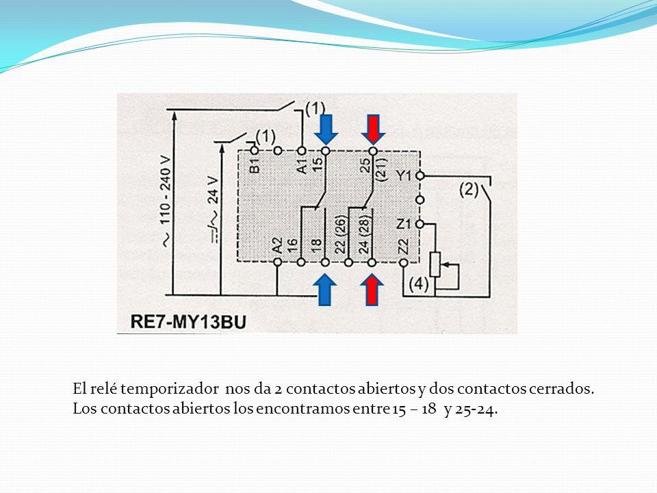 El relé temporizador nos da 2 contactos abiertos y dos contactos cerrados.