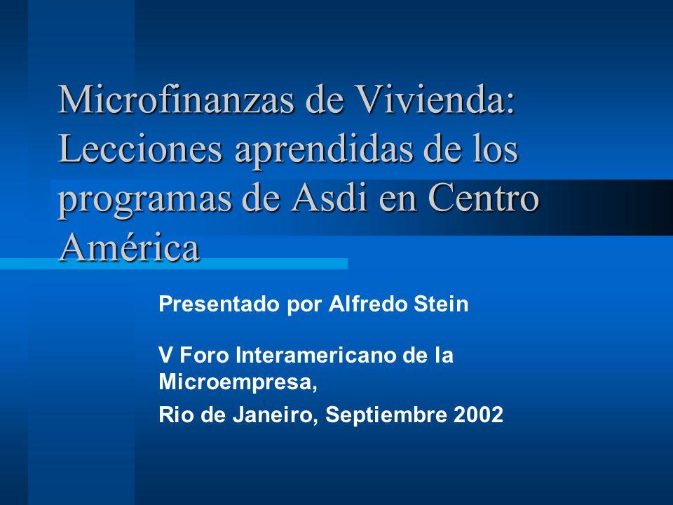 Microfinanzas de Vivienda: Lecciones aprendidas de los programas de Asdi en Centro América