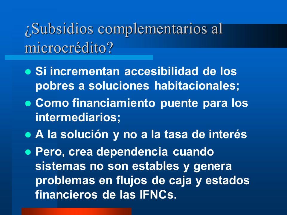 ¿Subsidios complementarios al microcrédito